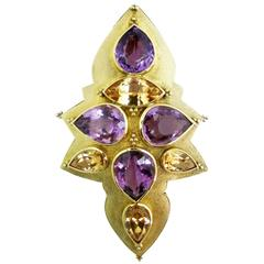 Imperial Topaz Amethyst Gold Pin Pendant