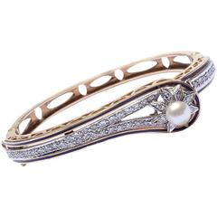 1930s Enamel Pearl Diamond Gold Bangle Bracelet