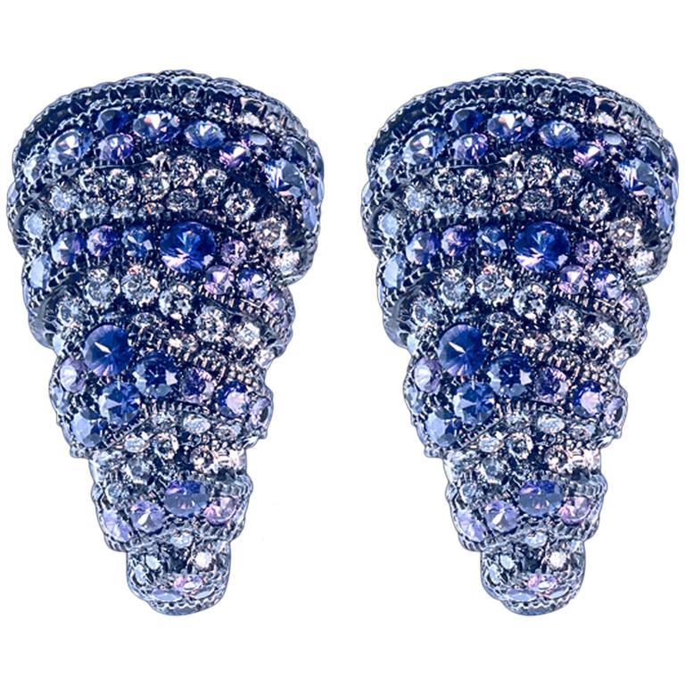 Arunashi Purple Sapphire Diamond Gold Earrings