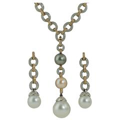 South Sea Pearl Diamond Two Color Gold Necklace and Earring Suite