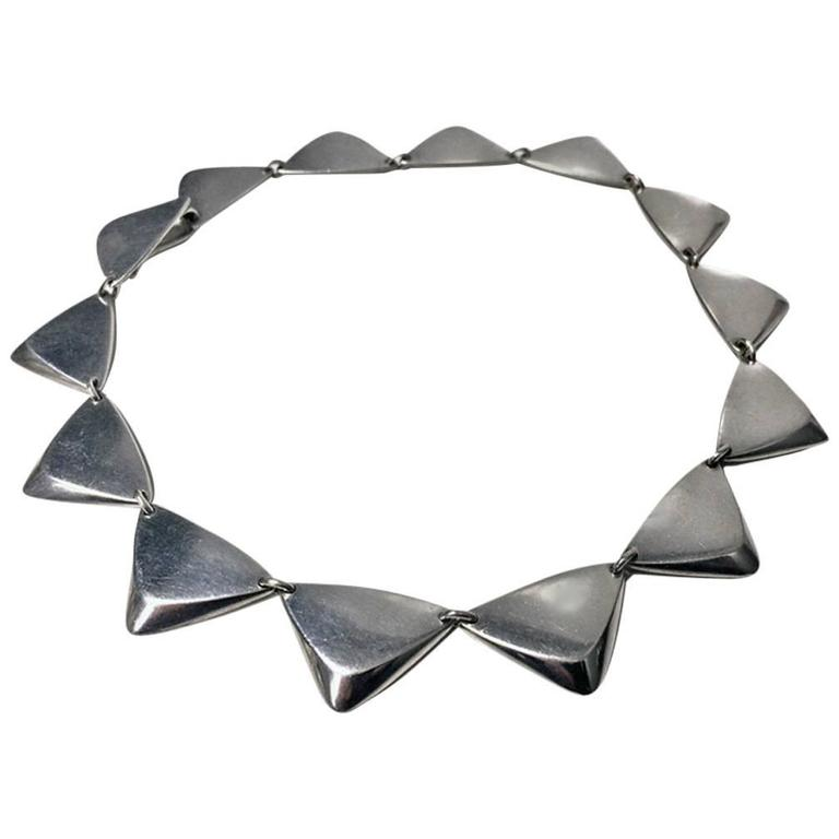 1960s Hans Hansen Sterling Silver Necklace, Denmark