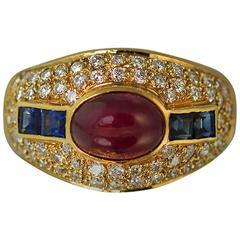 Ruby Sapphire Diamond Gold Ring
