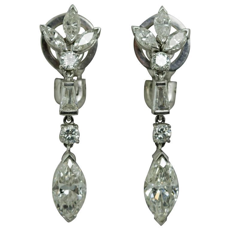 Marquise Diamond Platinum Drop Earrings