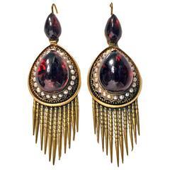 1870s English Antique Garnet Gold Tassel Earrings
