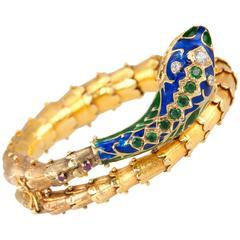 1950s Enamel Gold Snake Bracelet
