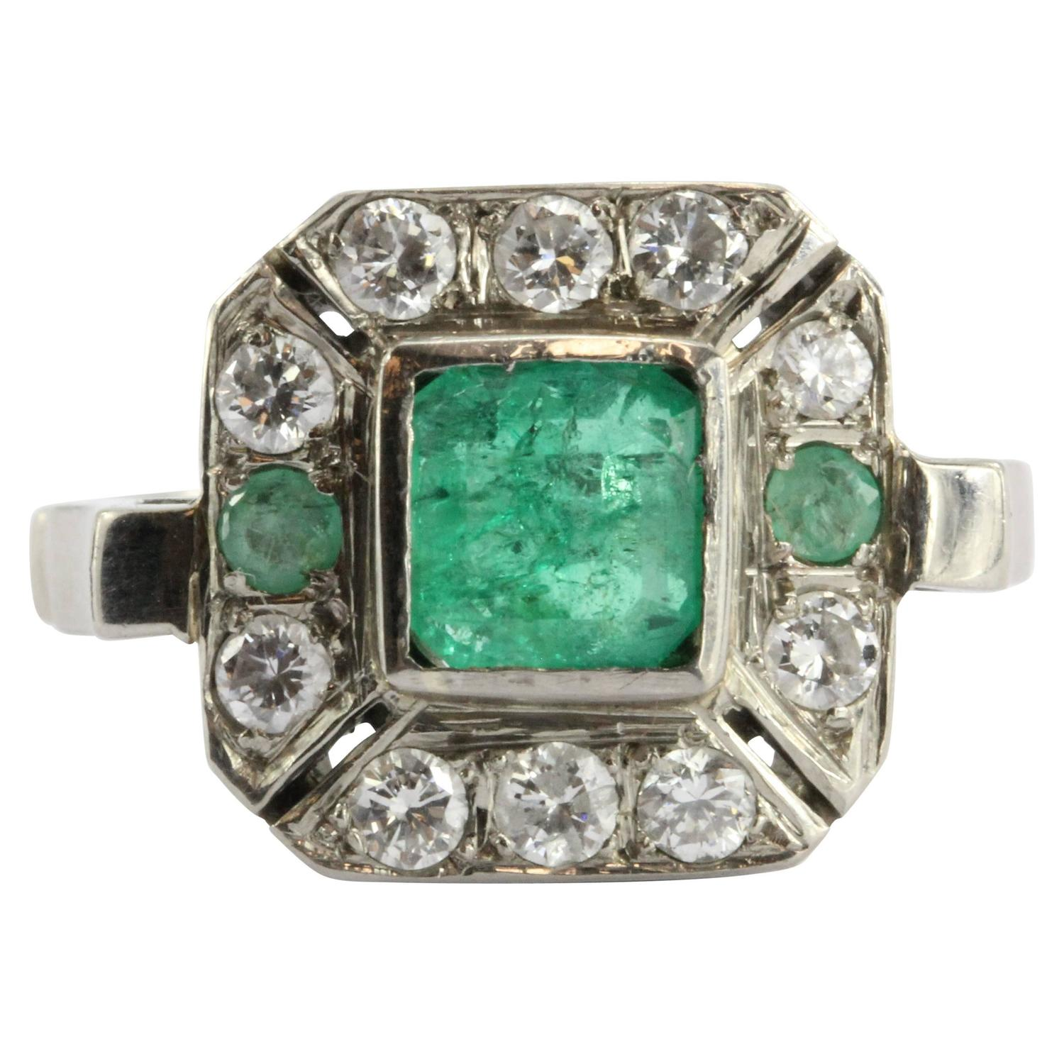 Art Deco Emerald Diamond Platinum Engagement Ring For Sale at 1stdibs