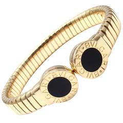 Bulgari Tubogas Onyx Gold Bangle Bracelet