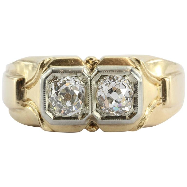 Men S Art Deco 1 2 Carats Twin Old Mine Cut Diamonds Gold