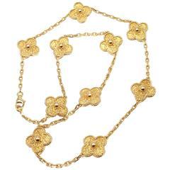 Van Cleef & Arpels Vintage Alhambra 10 Motif Gold Necklace