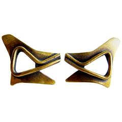 Art Smith Brass American Modernist Earrings