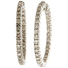 Jona White Diamond 18 Karat White Gold Hoop Earrings