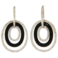 Onyx White Diamond 18 Karat White Gold Pendant Earrings