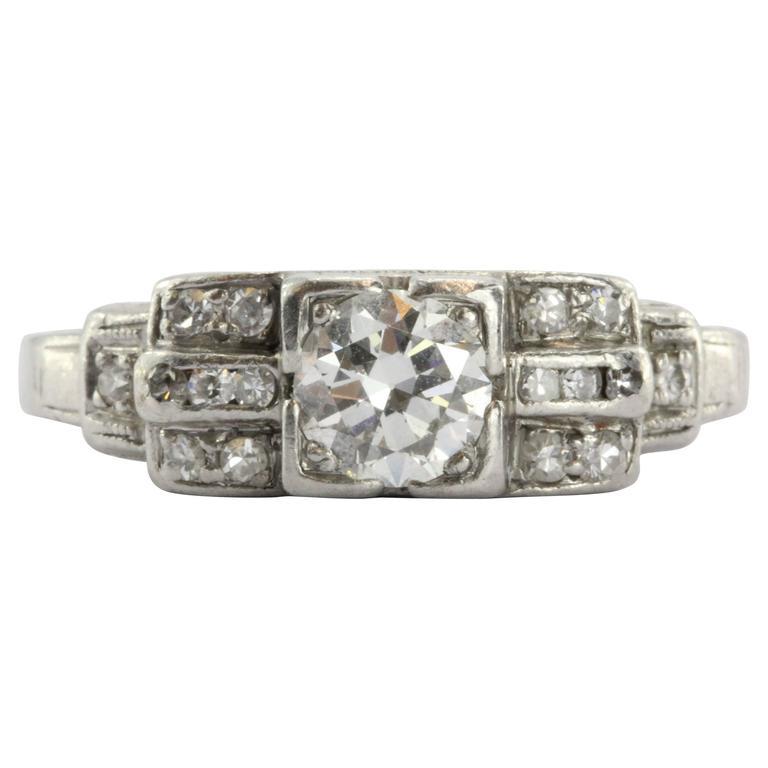 Art Deco Transition Cut Diamond Platinum Engagement Ring