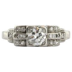 Art Deco Transition Cut Diamond Platinum Engagement Ring