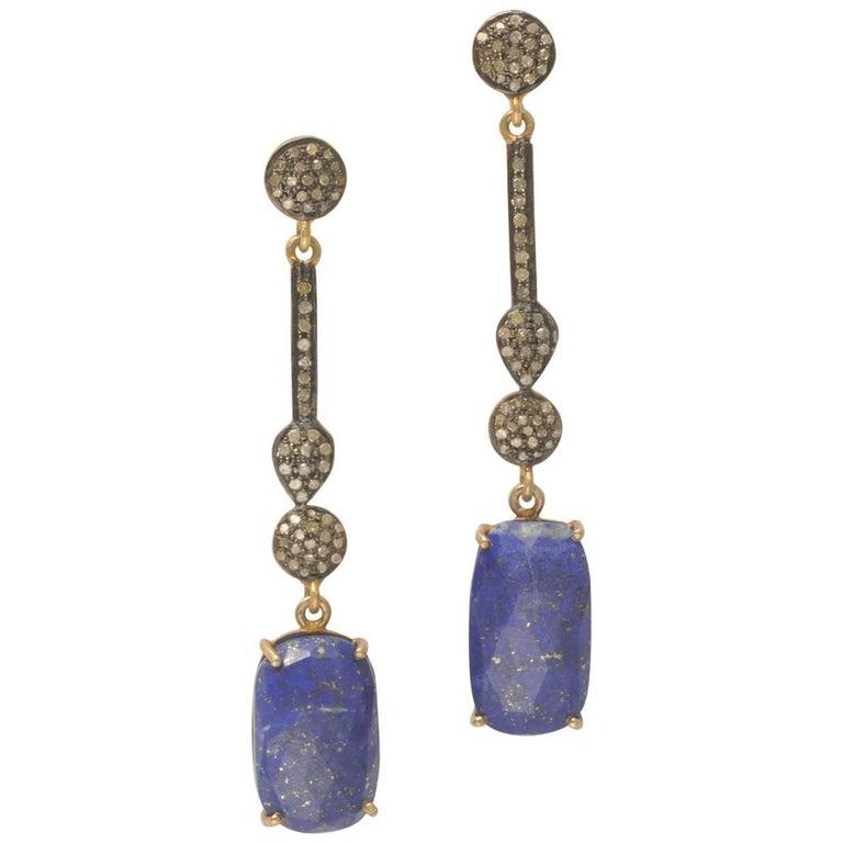Pair of Lapis Lazuli and Diamond Drop Earrings
