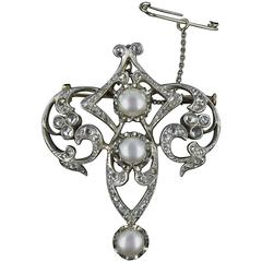 Antique Diamond and Pearl Brooch