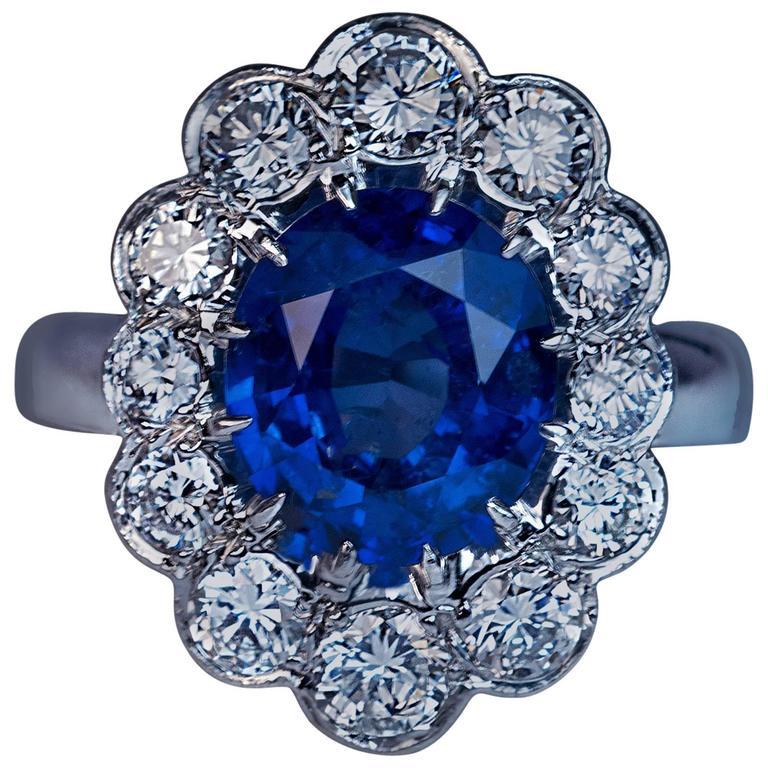 French Sapphire Diamond Platinum Engagement Ring For Sale