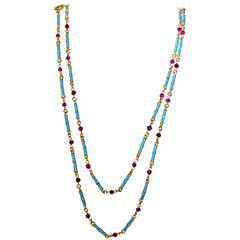 Blue Enamel Ruby Gold Long Chain Necklace