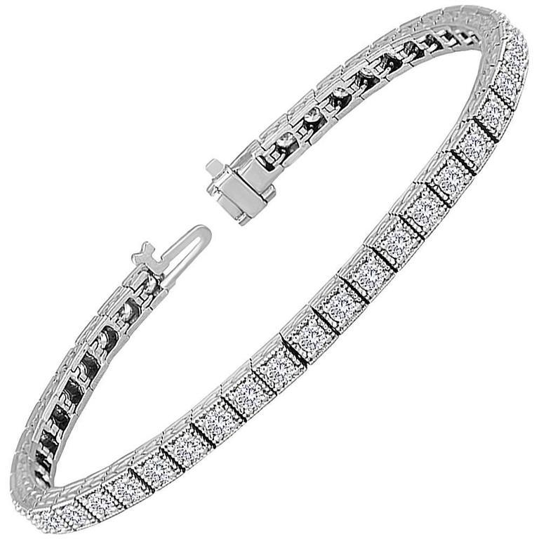 3.75 Carats Diamond Gold Tennis Bracelet