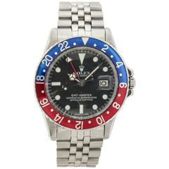 Rolex Stainless Steel GMT-Master Pepsi Bezel Automatic Wristwatch Ref 1675