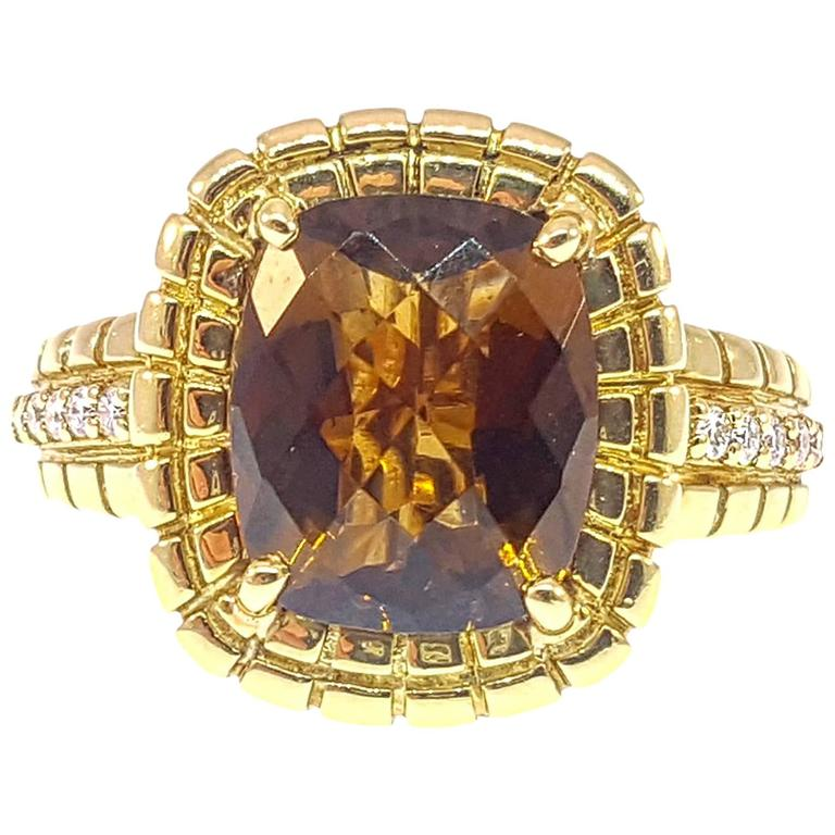 Charles Krypell Citrine Diamond Gold Ring