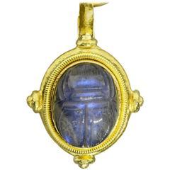 Elizabeth Locke Labradorite Gold Scarab Pendant and Bead Chain
