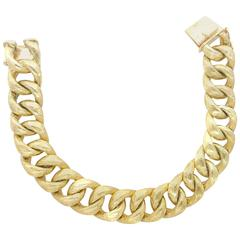 Heavy Solid Gold Curb Link Bracelet