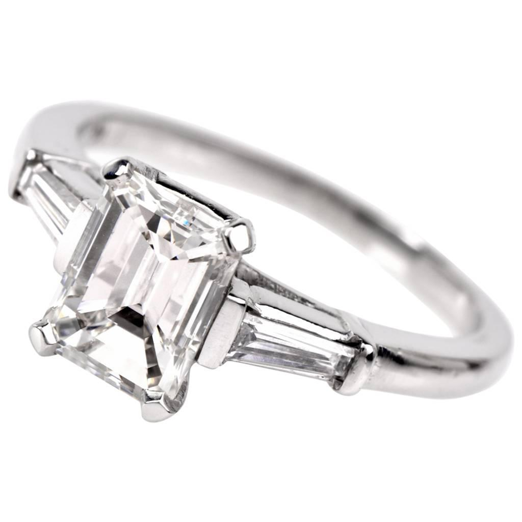Classic Emerald Cut Diamond Baguette Platinum Engagement Ring For Sale at 1st