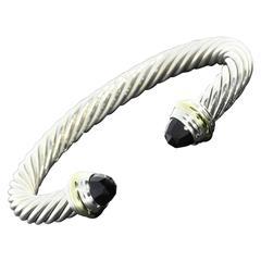 David Yurman Black Onyx Sterling Silver Gold Cable Classics Bracelet