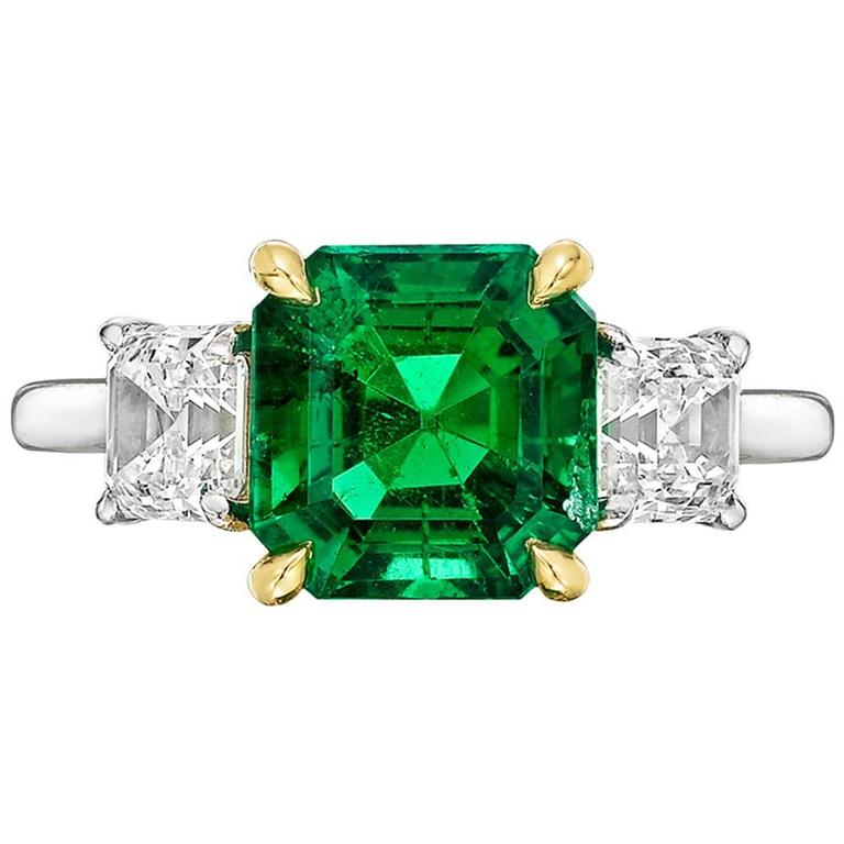 Betteridge 2.42 Carat GIA Cert Colombian Emerald Diamond Gold Platinum Ring
