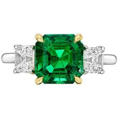 Betteridge 2.42 Carat GIA Cert Colombian Emerald Diamond Gold Platinum Ring
