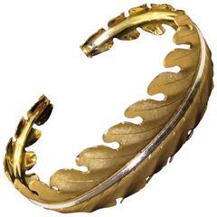 Buccellati Two Color Gold Leaf Motif Cuff Bracelet