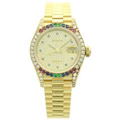 Rolex Lady's Yellow Gold Crown Collection Datejust Wristwatch Ref 69038
