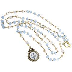 Butterfly Kaleidoscope Victorian Locket Blue Chalcedony Scorolite Necklace