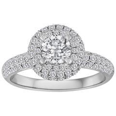 Round 0.56 Carat Pave Halo Diamond Gold Ring
