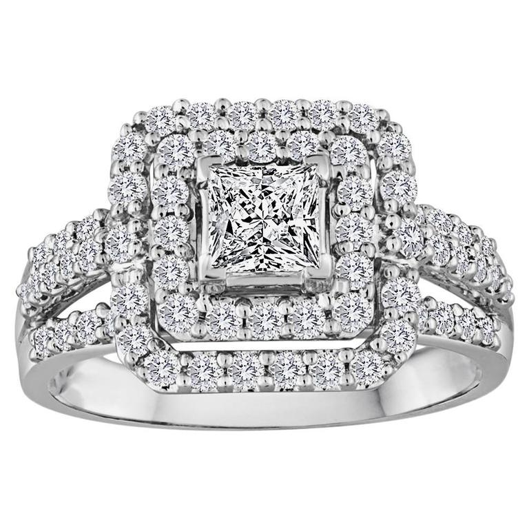 Princess Cut 0.51 Carat Double Diamond Halo Gold Ring