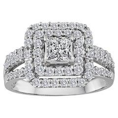 0.51 Carats Princess Cut Diamond Double Halo Gold Ring