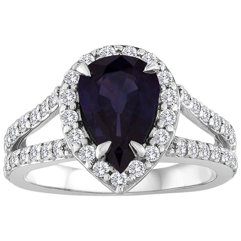 Certified 2.02 Carat Pear Blue Sapphire Diamond Halo Gold Ring 1