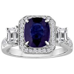 Certified No Heat 2.16 Carats Oval Blue Sapphire Diamond Gold Ring