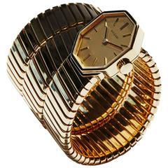Bulgari Lady's Yellow Gold Tubogas Bracelet Wristwatch