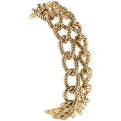 1950s Double Twisted Link Braided Gold Bracelet