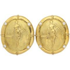 Diamond Gold Classical Oval Clip On Earrings