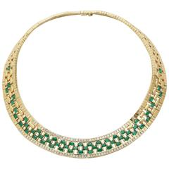Emerald Diamond Gold Woven Necklace
