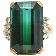 H.Stern Green Tourmaline Diamond Gold Ring