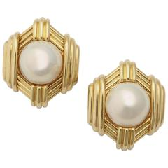 Mabe Pearl Gold Architectural Earrings