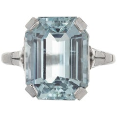 6.05 Carat Green Blue Aquamarine Pierced Platinum Art Deco Engagement Ring