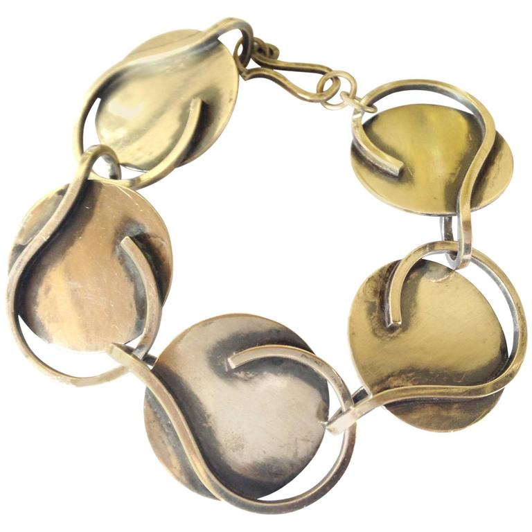 Bill Tendler Sterling Silver Abstract Modernist Bracelet