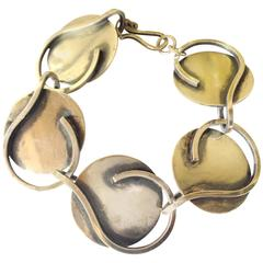 Bill Tendler Sterling Silver Abstract Modernist Bracelet