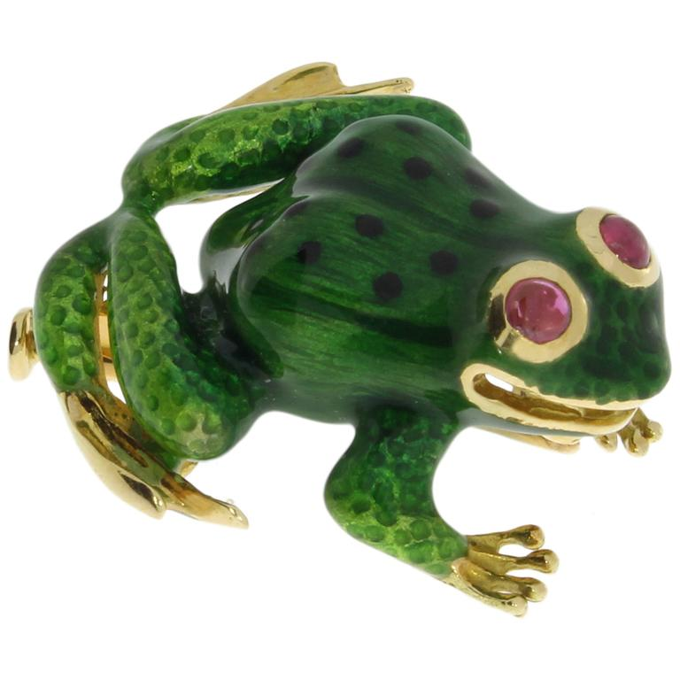 Delightful Enamel Ruby Gold Frog Brooch