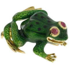 Enamel Ruby Gold Frog Brooch